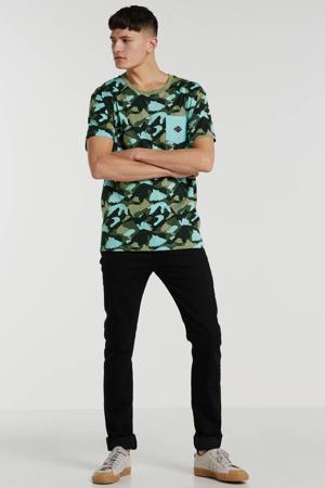 T-shirt met all over print donkergroen/zwart/turqoise/beige