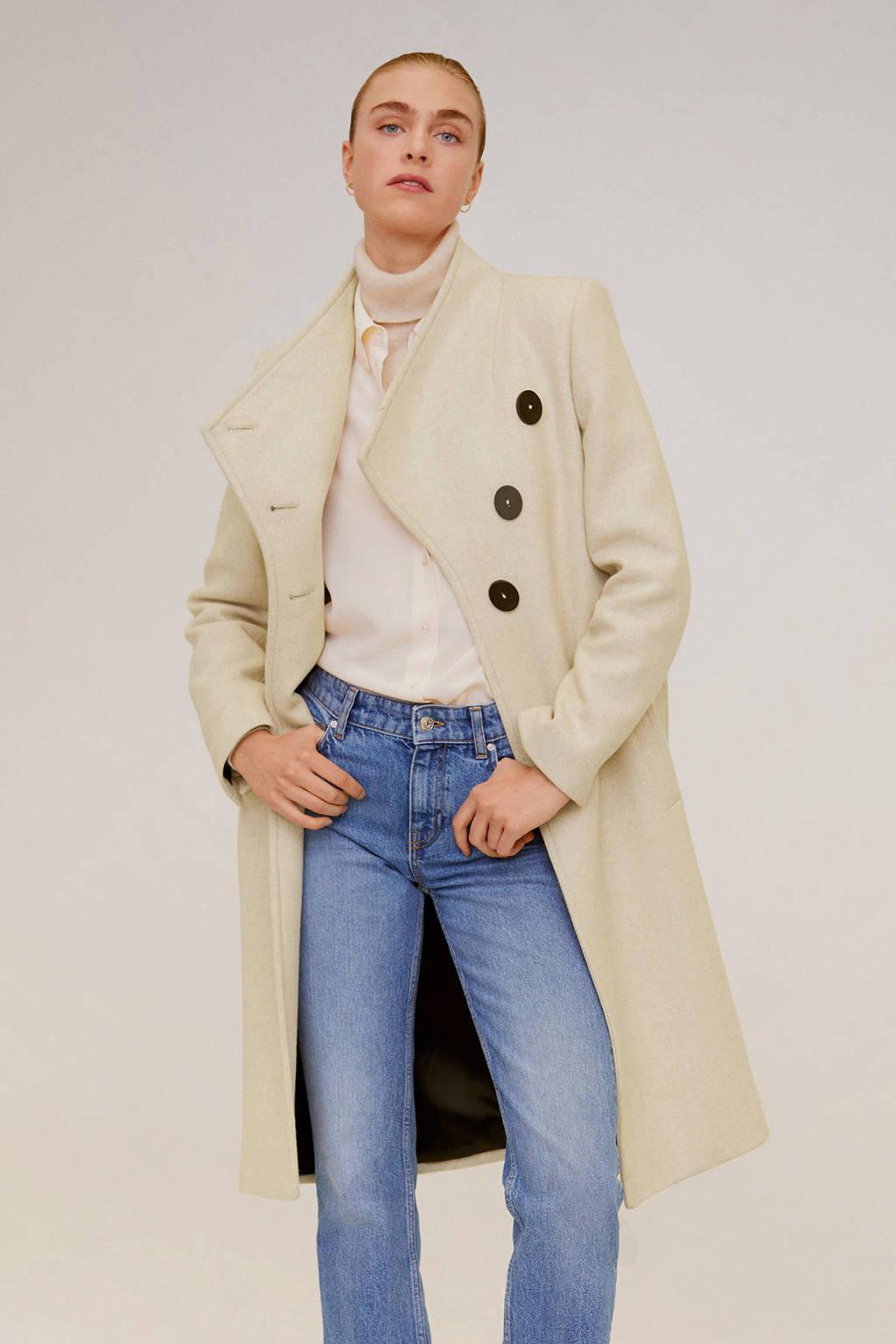 Mango coat met wol beige, Beige