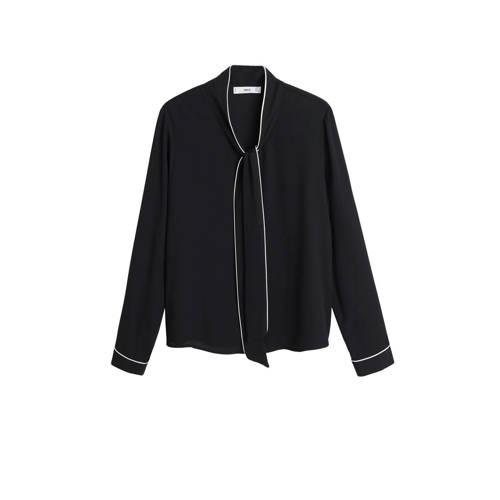 Mango blouse met contrastbies zwart