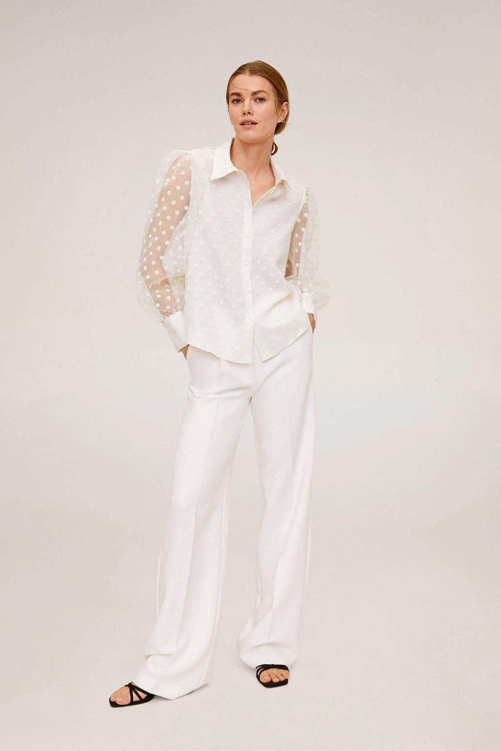 Mango semi-transparante mesh blouse met stippen wit, Wit