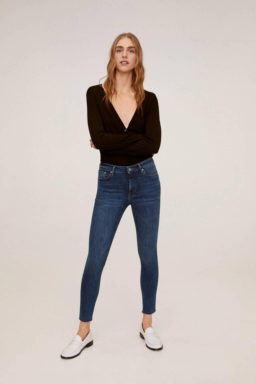 Mango cropped skinny jeans blue denim, Blue denim