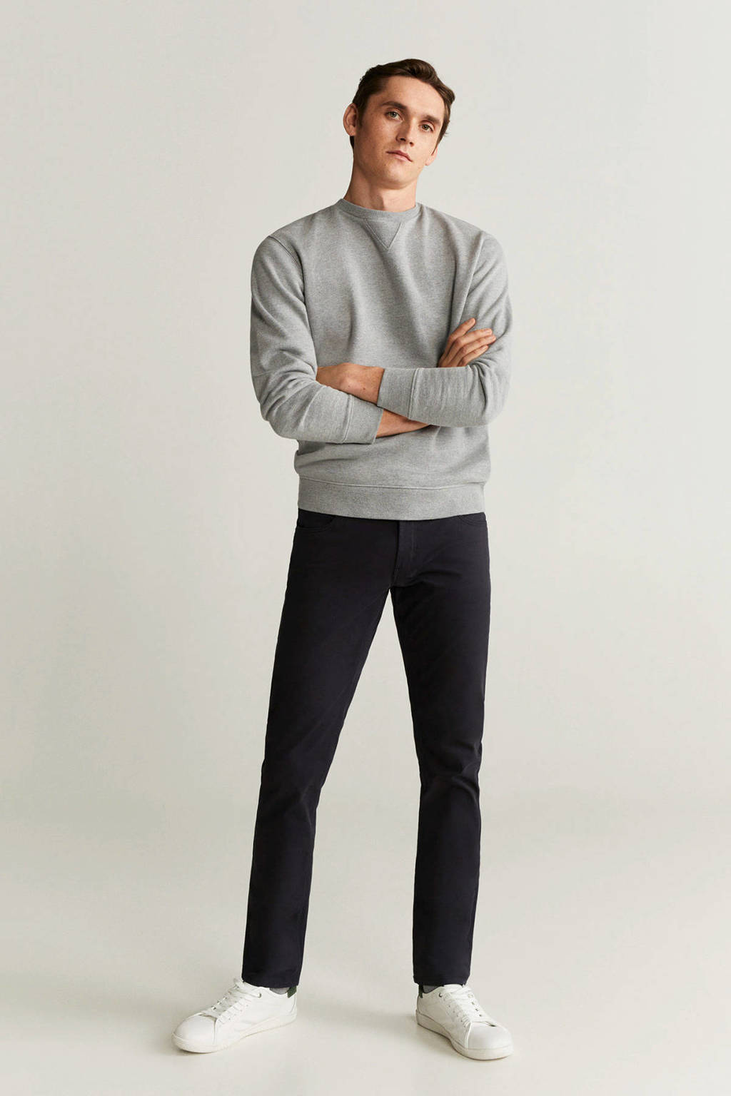 Mango Man regular fit pantalon zwart, Zwart