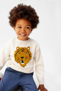 Mango Kids gebreide trui met dierenprint en borduursels ecru/bruin/zwart, Ecru/bruin/zwart
