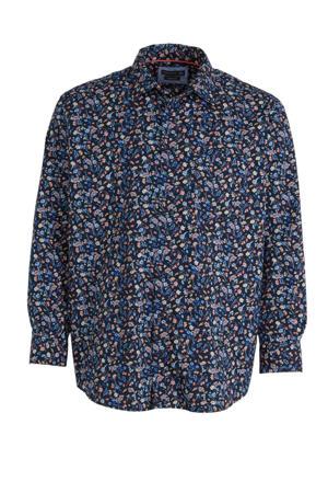 gebloemd regular fit overhemd van biologisch katoen donkerblauw