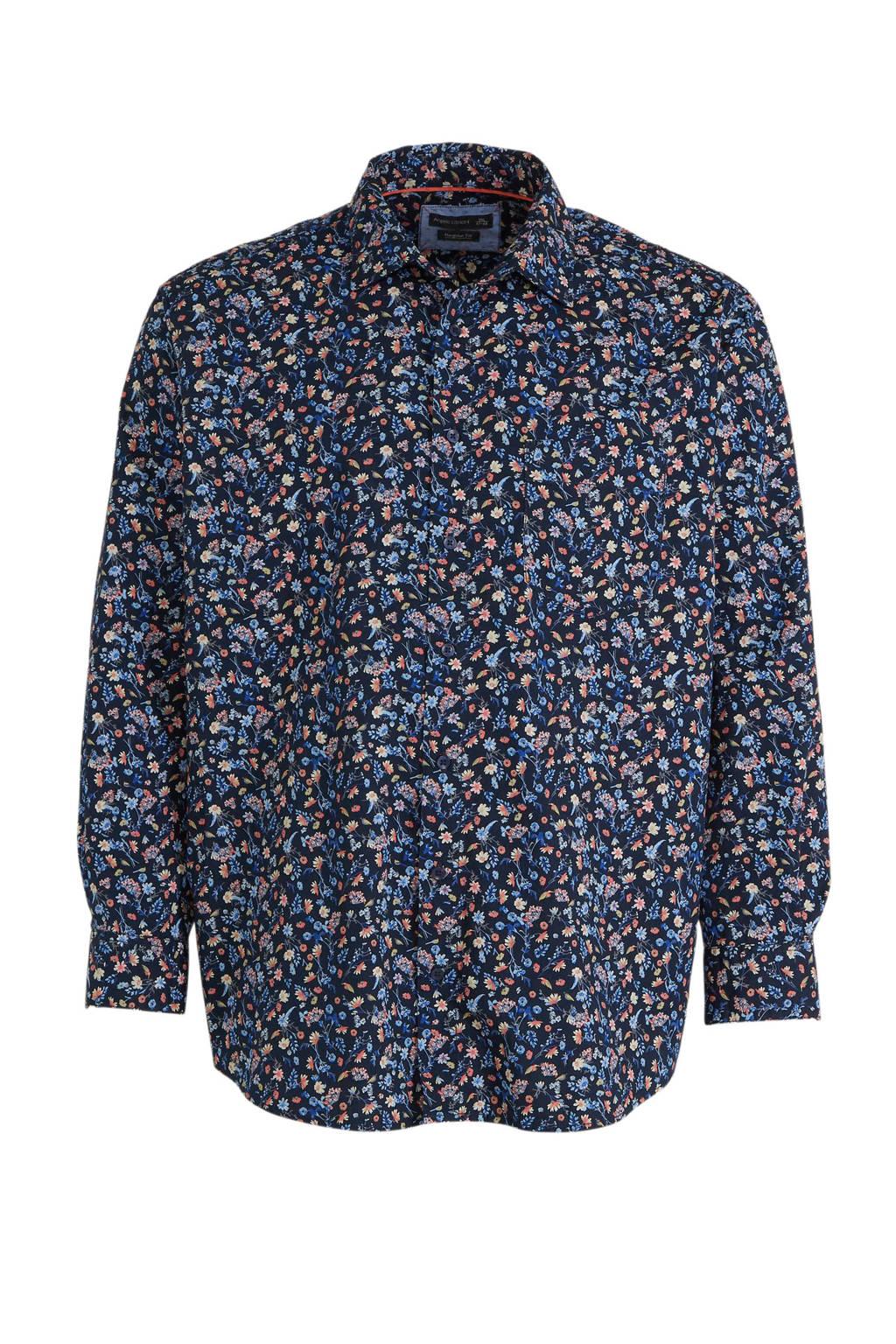 C&A XL Angelo Litrico gebloemd regular fit overhemd van biologisch katoen donkerblauw, Donkerblauw
