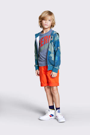 gestreept T-shirt donkerblauw/wit/rood