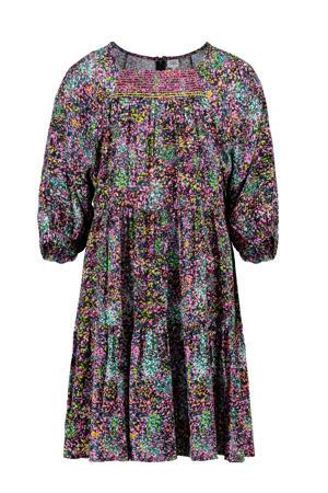 gebloemde jurk antraciet/paars/multi