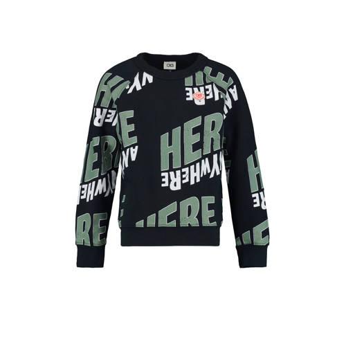 CKS KIDS sweater Badrian met all over print donker
