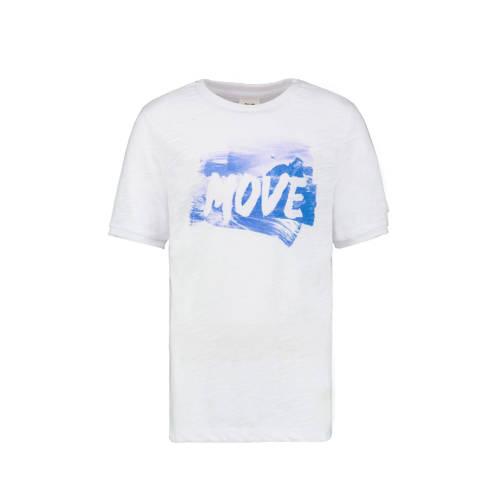 CKS KIDS T-shirt Yasem met printopdruk wit/blauw