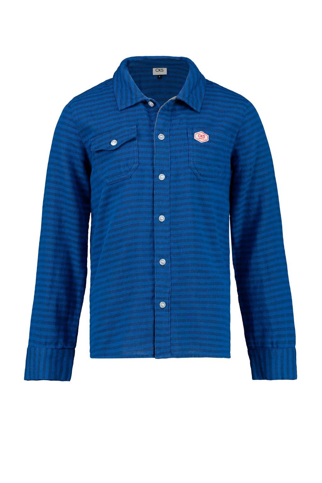 CKS KIDS gestreept overhemd Brandrew kobaltblauw, Kobaltblauw