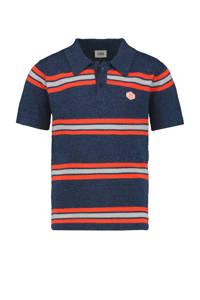CKS KIDS gestreepte polo Yivan met linnen donkerblauw/rood/wit, Donkerblauw/rood/wit
