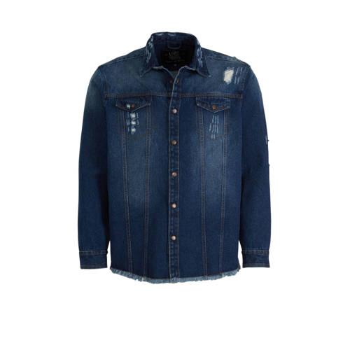 URBN SAINT regular fit overhemd dark denim