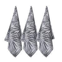whkmp's own theedoek palm shades (65x60 cm) (set van 3), Lichtgrijs/zwart