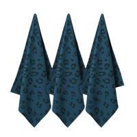 wehkamp home theedoek mini panter (65x60 cm) (set van 3), Donkerblauw/zwart