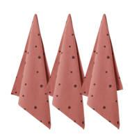 Wehkamp Home theedoek free dot (65x60 cm) (set van 3), Roze/zwart