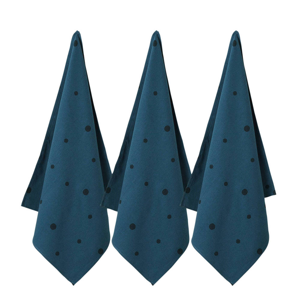 Wehkamp Home theedoek free dot (65x60 cm) (set van 3), Donkerblauw/zwart