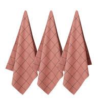 whkmp's own theedoek (65x60 cm) (set van 3), Roze/zwart