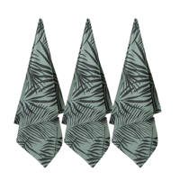 wehkamp home theedoek palm shades (65x60 cm) (set van 3), Lichtgroen/zwart