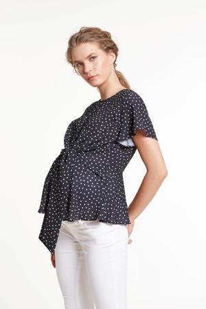 zwangerschaps- en voedingstop Colombia met hartjes zwart/wit