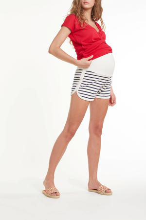 gestreepte regular fit zwangerschapssweatshort Vita wit/donkerblauw
