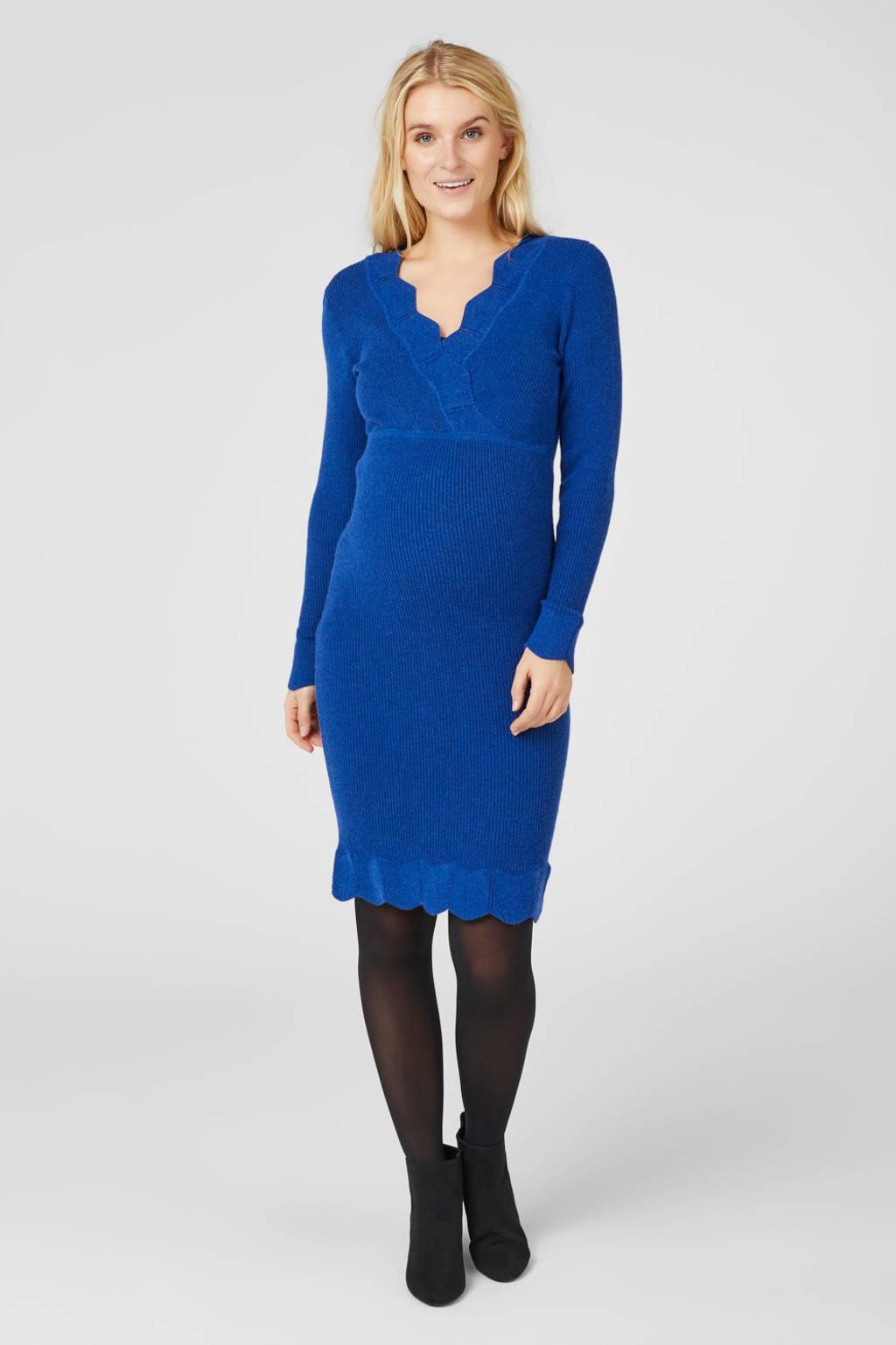 MAMALICIOUS ribgebreide zwangerschapsjurk met ceintuur blauw, Blauw