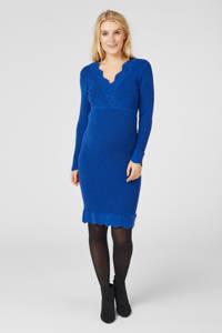 MAMALICIOUS ribgebreide zwangerschapsjurk Neweva met ceintuur blauw, Blauw
