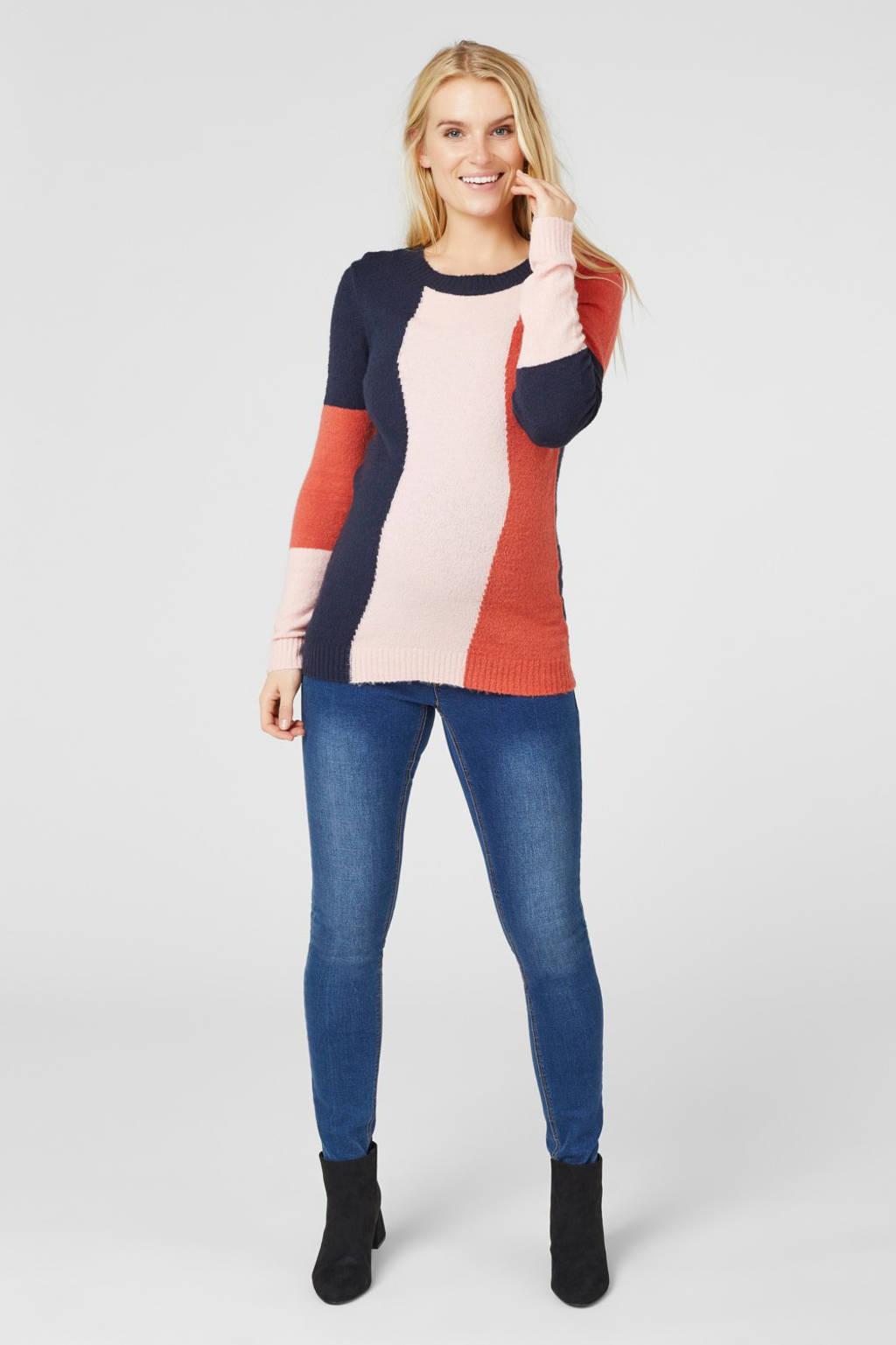 MAMALICIOUS zwangerschapssweater Tiana met ceintuur roze/donkerblauw/rood, Roze/donkerblauw/rood