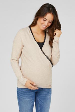 zwangerschaps- en voedingslongsleeve met kant lichtbruin/zwart