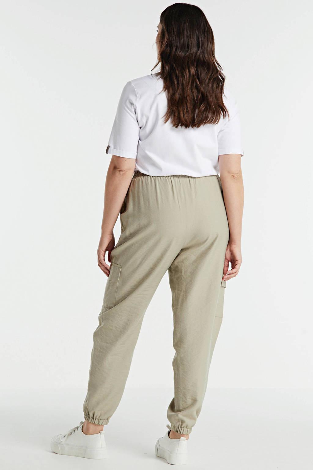 Zizzi high waist tapered fit cargobroek beige, Beige