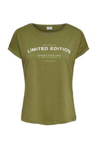 JACQUELINE DE YONG T-shirt met tekst groen, Groen