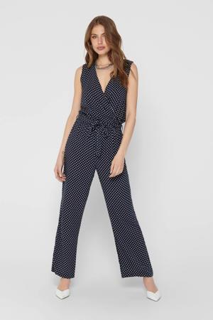 jumpsuit met stippen blauw/wit