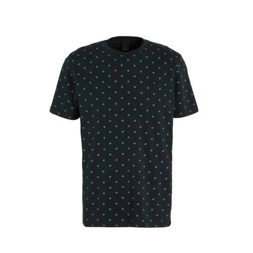 Scotch & Soda T-shirt met all over print zwart