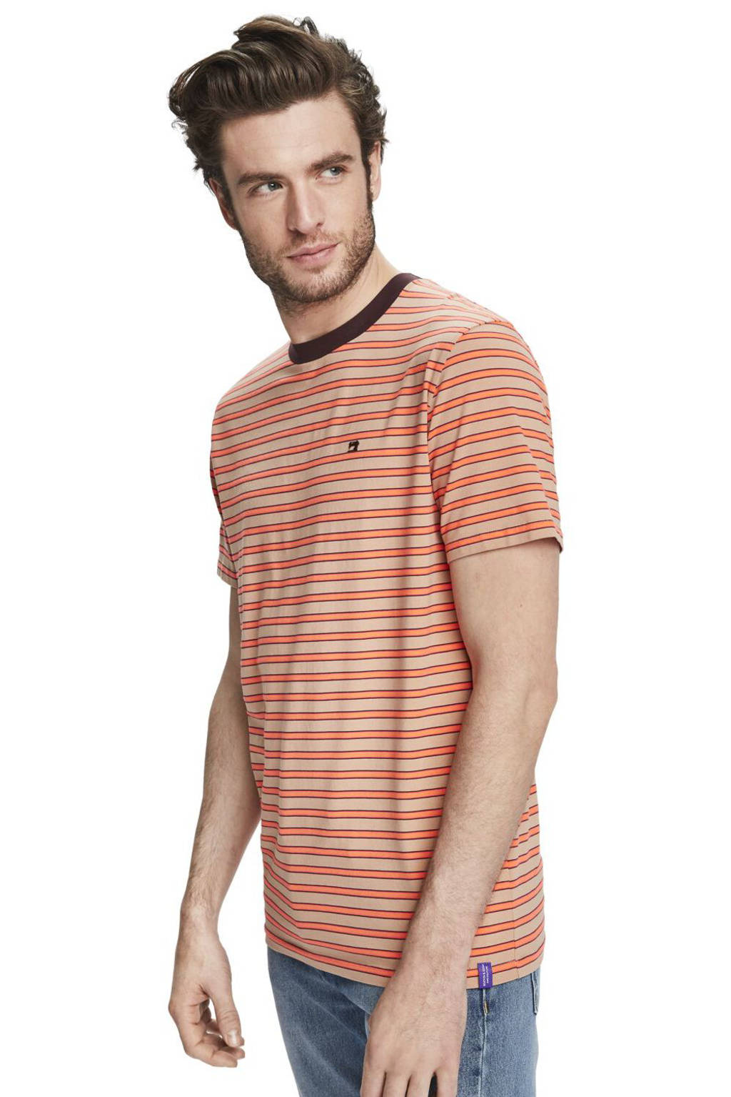Scotch & Soda gestreept T-shirt oranje, Oranje