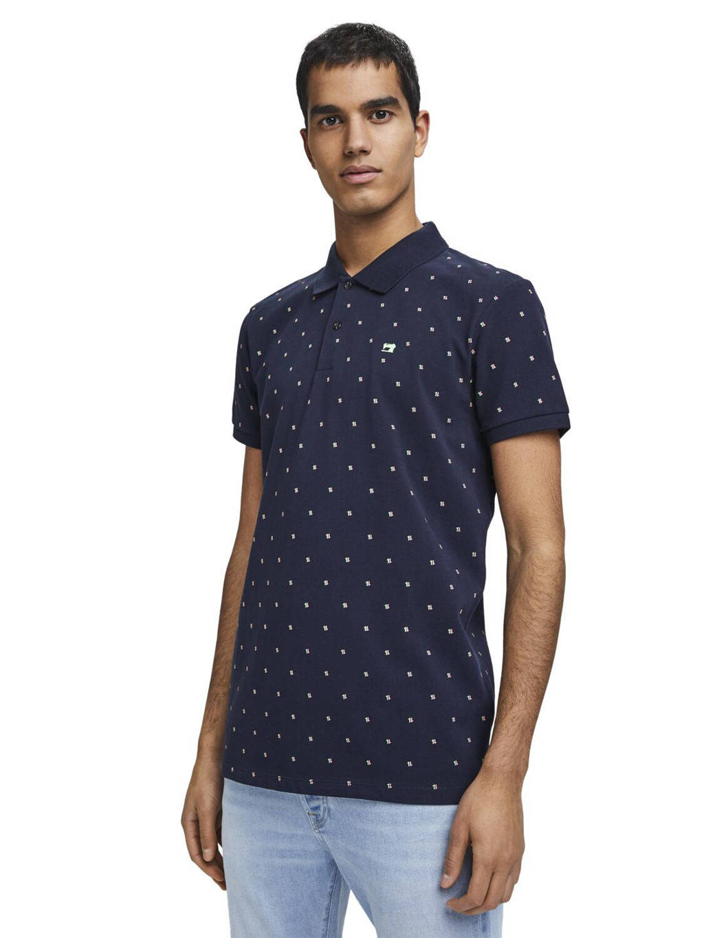 Scotch & Soda slim fit polo met all over print donkerblauw, Donkerblauw