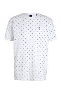 Scotch & Soda T-shirt met all over print wit, Wit/blauw