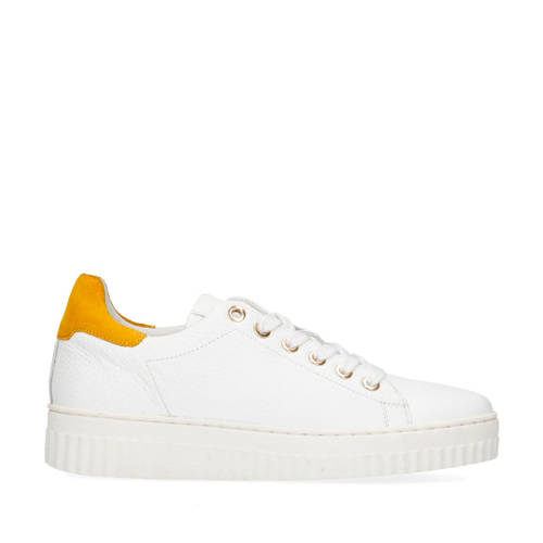 Sacha leren sneakers wit/okergeel
