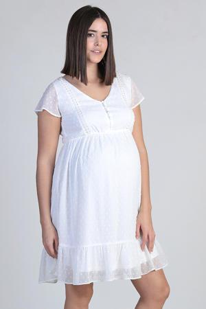 semi-transparante zwangerschaps- en voedingsjurk met kant wit
