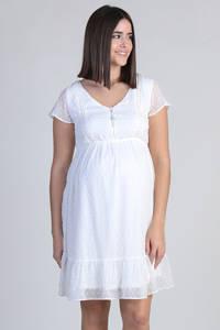 ohma! semi-transparante zwangerschaps- en voedingsjurk met kant wit, Wit