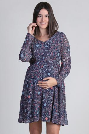 zwangerschaps- en voedingsjurk met all over print en open detail donkerblauw/roze