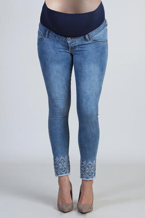 cropped low waist skinny zwangerschapsjeans met borduursels light indigo
