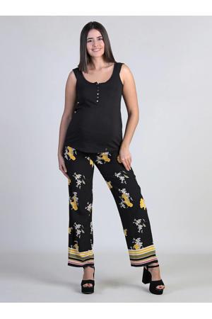 loose fit zwangerschapsbroek met all over print zwart/okergeel
