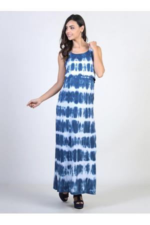 tie-dye zwangerschaps- en voedingsjurk blauw/wit