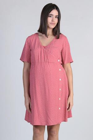 zwangerschaps- en voedingsjurk met stippen roodroze