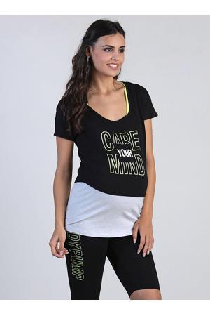 zwangerschaps sporttop met printopdruk zwart