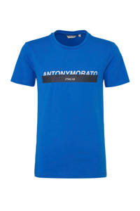 Antony Morato T-shirt met logo blauw/zwart/wit, Blauw/zwart/wit