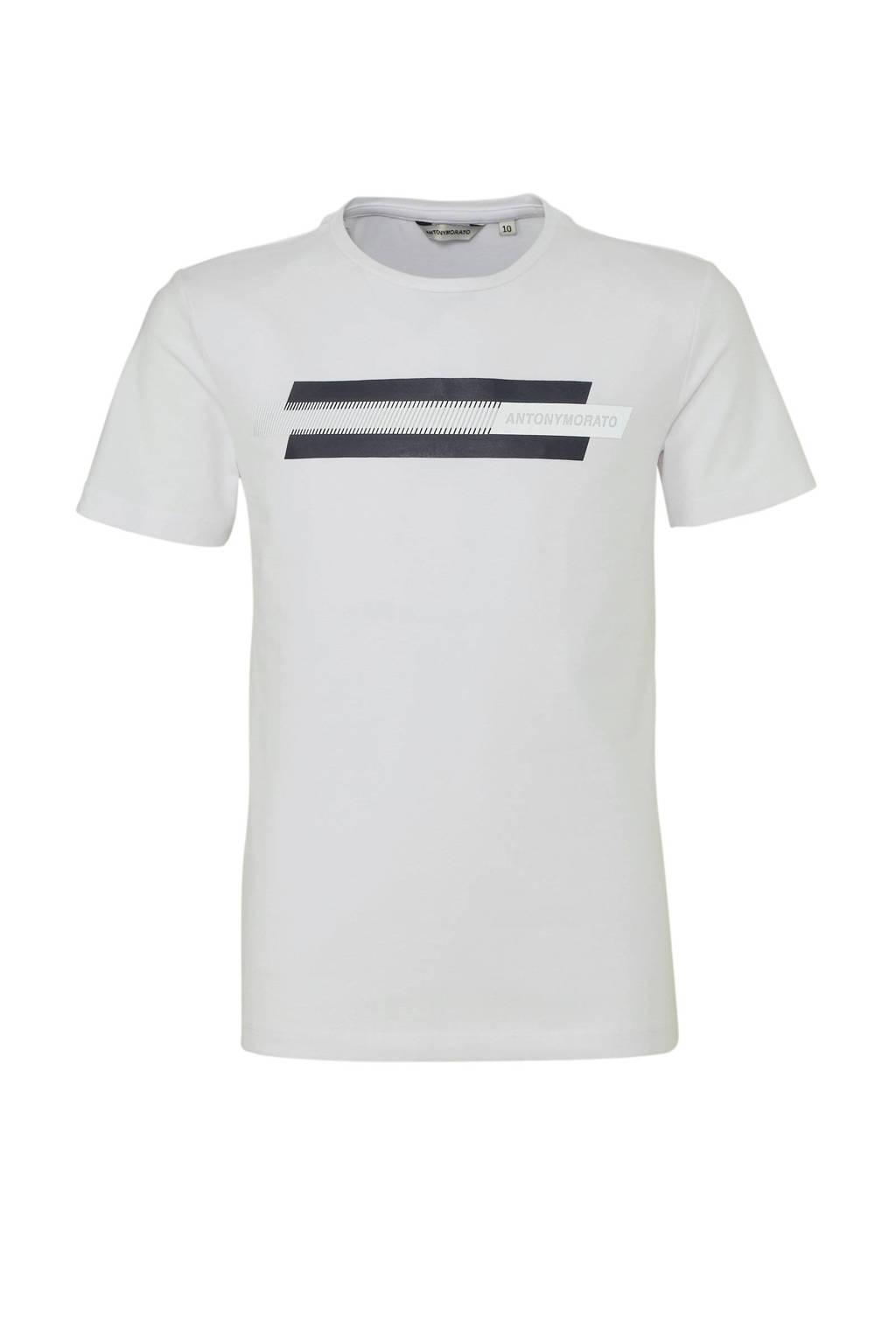 Antony Morato T-shirt met logo wit/antraciet, Wit/antraciet