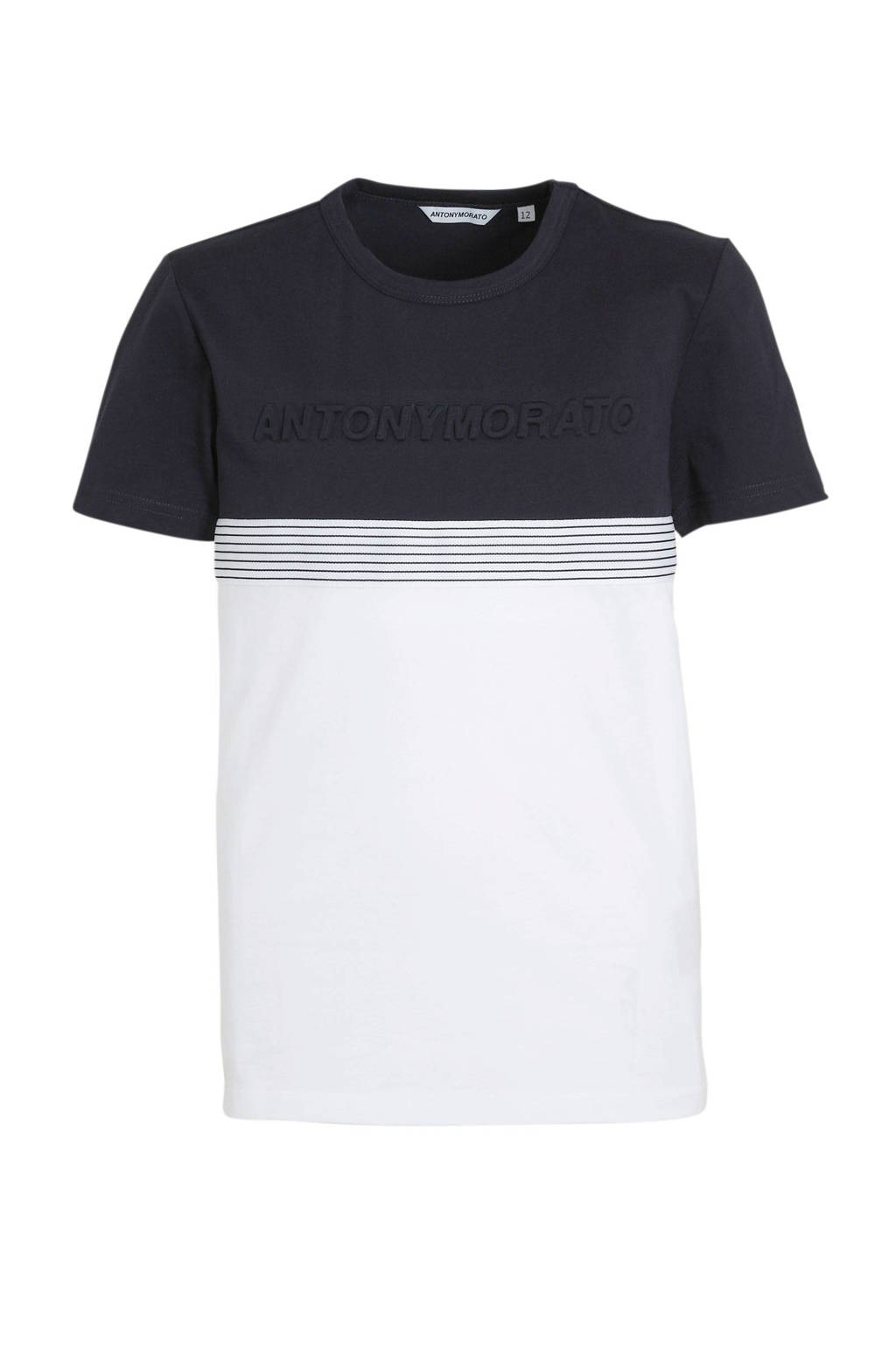 Antony Morato T-shirt met textuur donkerblauw/wit/zwart, Donkerblauw/wit/zwart