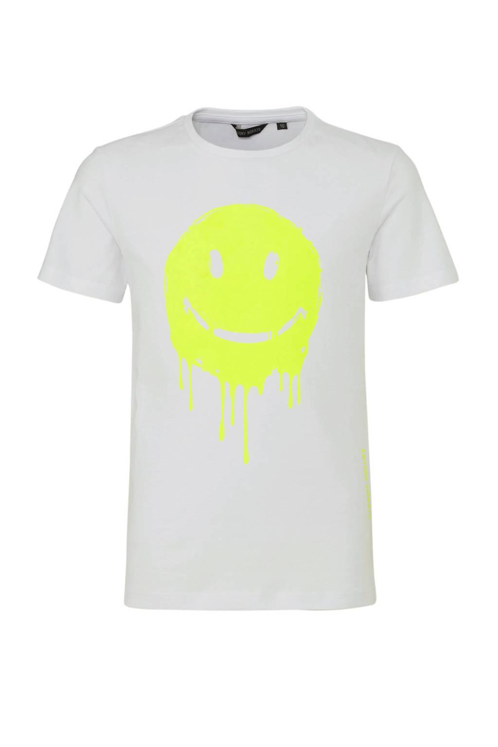 Antony Morato T-shirt met printopdruk wit/neon geel