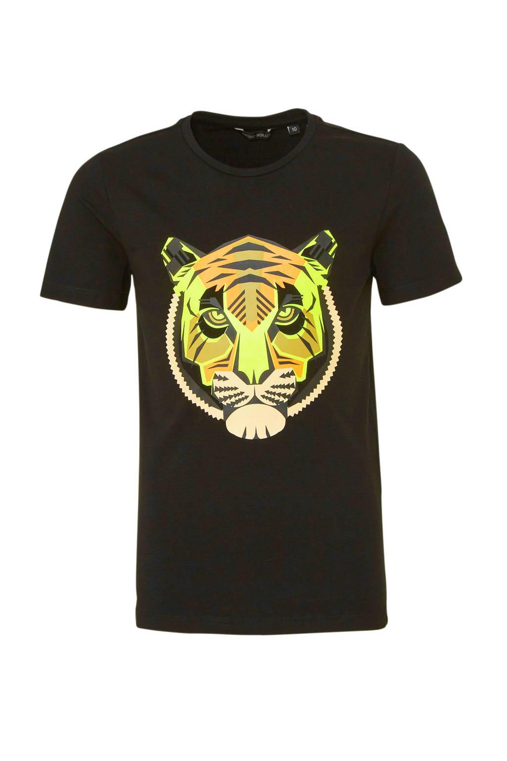 Antony Morato T-shirt met printopdruk zwart/geel/oranje, Zwart/geel/oranje