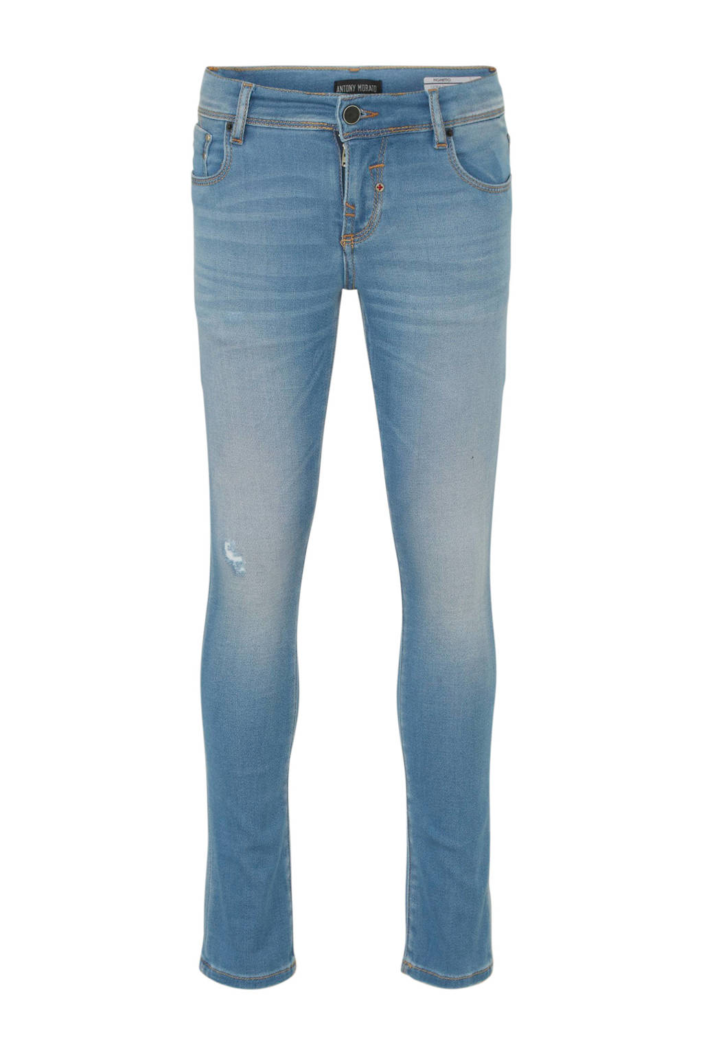 Antony Morato skinny jeans met slijtage light denim stonewashed, Light denim stonewashed